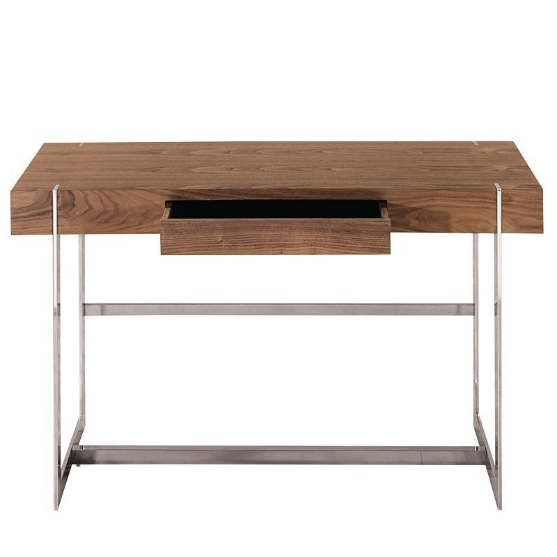 Coach | Morton Chrome Desk In Walnut Veneer | Designer Desks | Luxury  Furniture