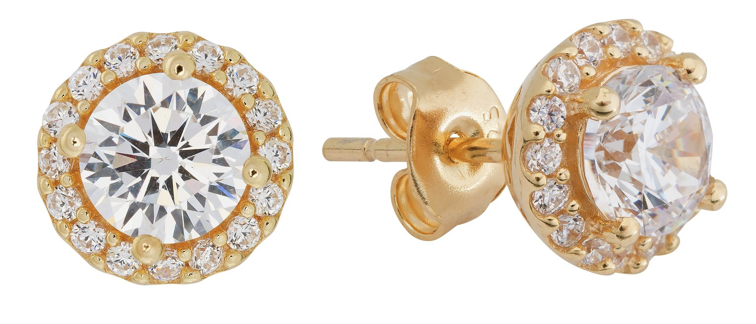 1ec78b6b1 Revere 18ct Gold Plated Silver 1.50ct Look CZ Halo Studs