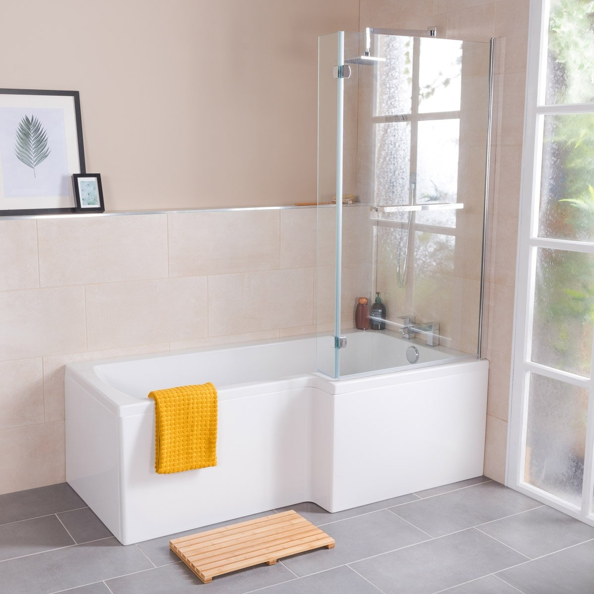Live 1700mm Right Hand L Shape Shower Bath with Screen and Panel