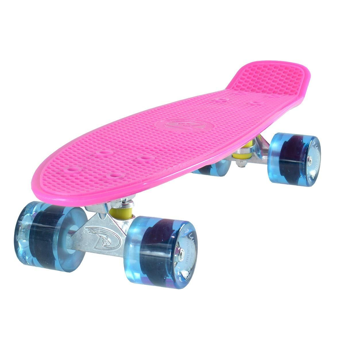 "Land Surfer Cruiser Skateboard 22"" PINK BOARD TRANSPARENT BLUE WHEELS"
