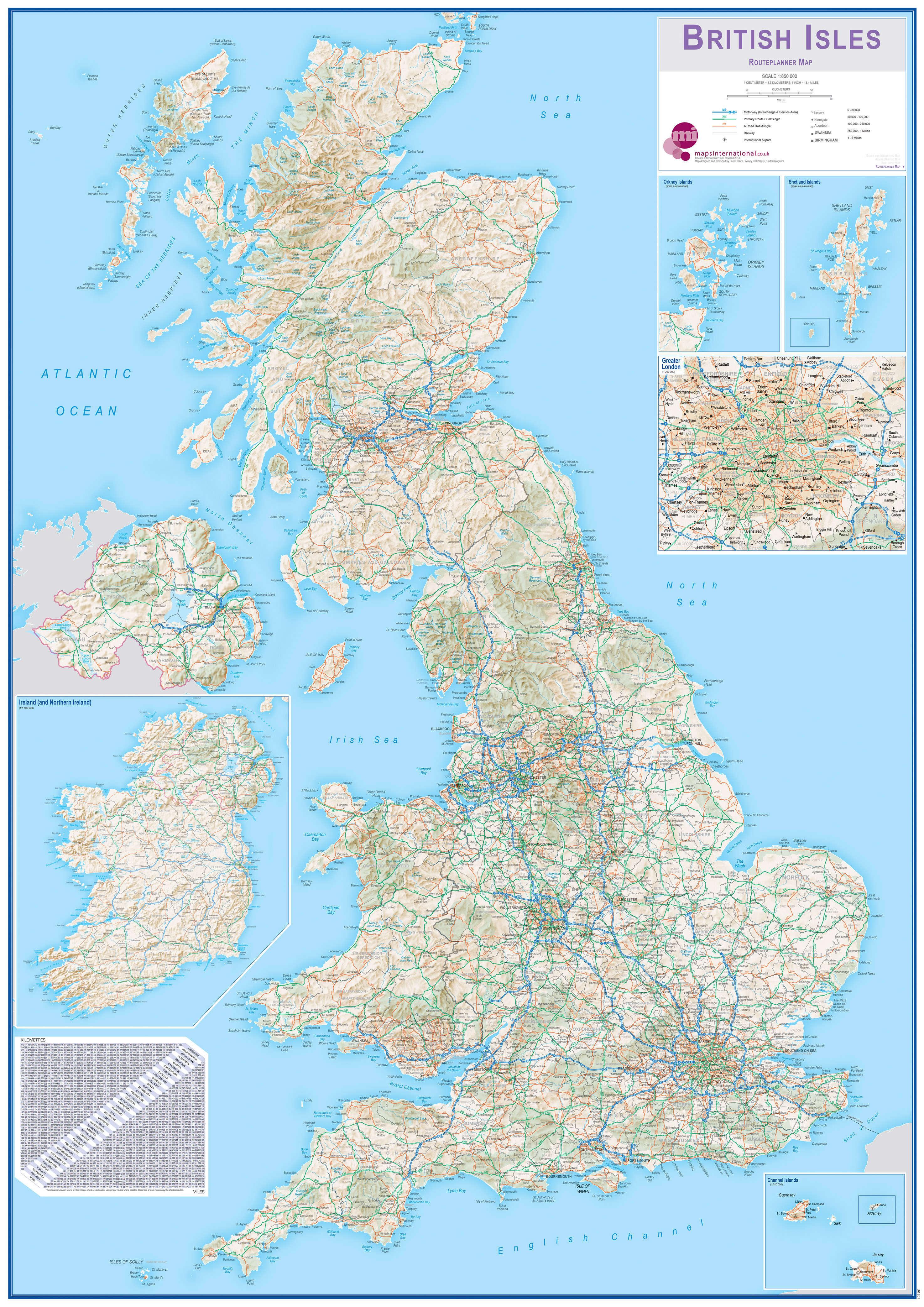 Large British Isles Routeplanning Map (Laminated) | 84.1cm (w) x 118.9cm (h)
