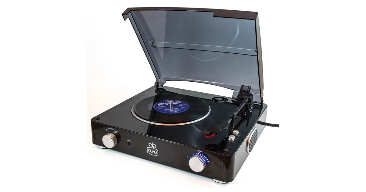 GPO Stylo 3 Speed Stand Alone Turntable in Piano Black