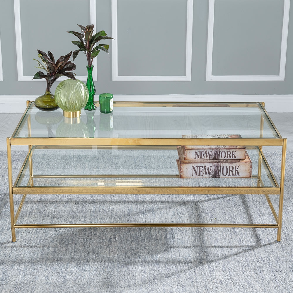 Furntastic Islay Glass and Stainless Steel Gold Coffee Table | Clear Glass and Gold