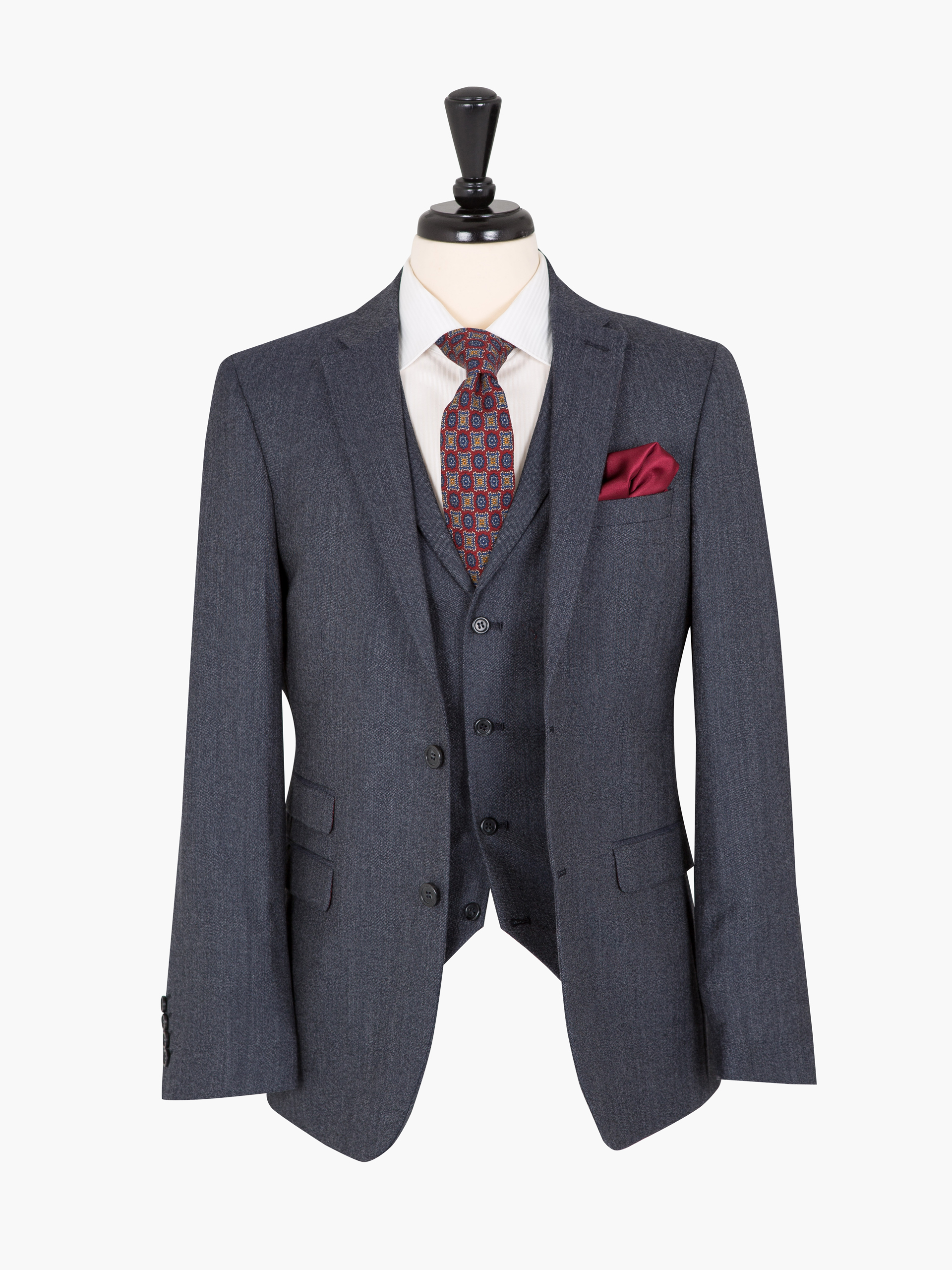 OneSix5ive Grey Luxury Tailored Fit Suit Three Piece Suit 38 S