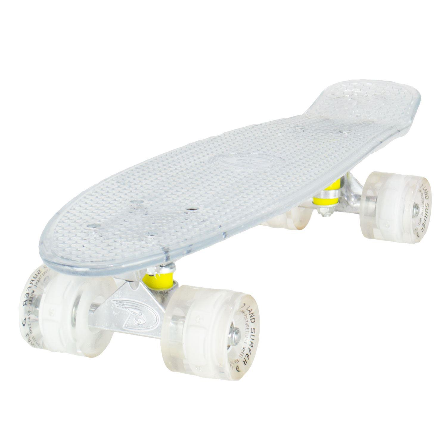 Land Surfer Skateboard - Clear Board - LED White Wheels
