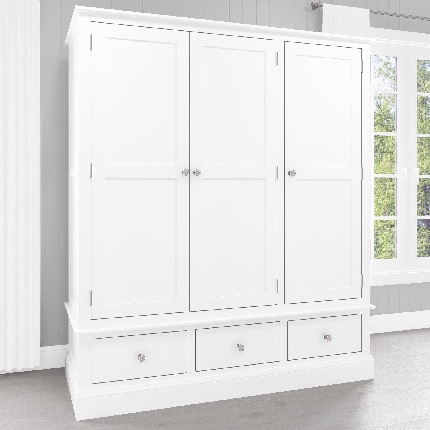 Harper White Solid Wood 3 Door 3 Drawer Wardrobe