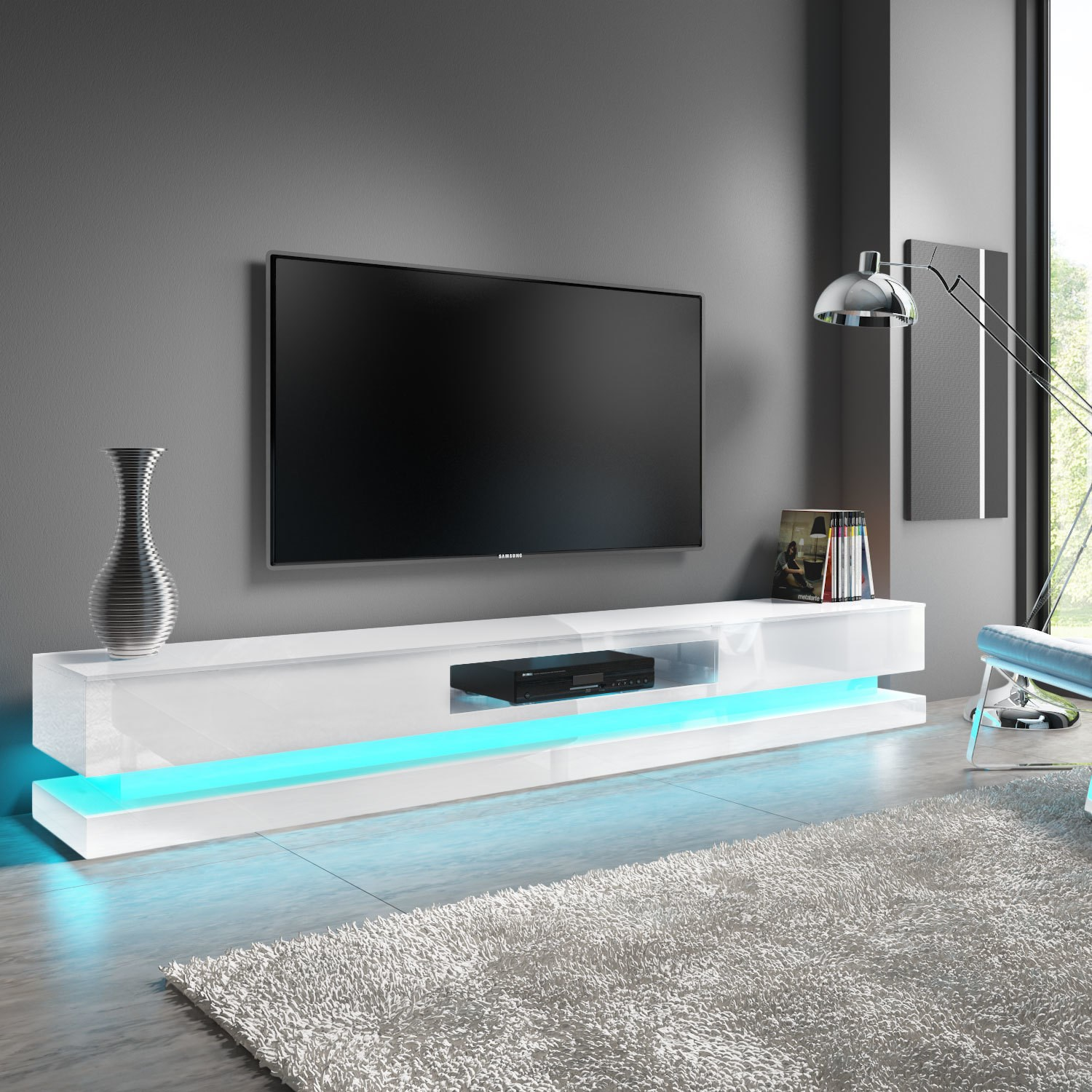 Extra Large White Gloss TV Stand with LEDs- TV's up to 80 - Evoque