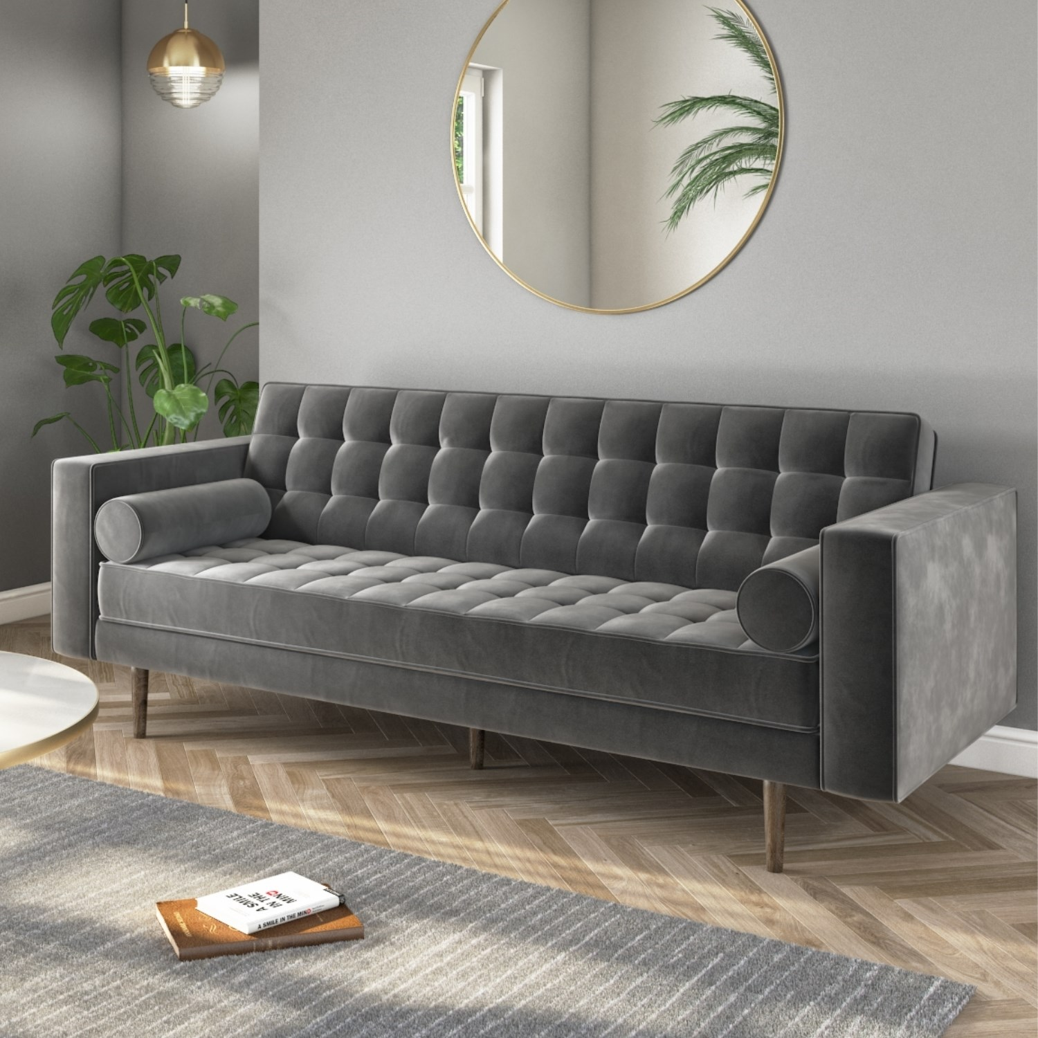 3 Seater Sofa in Grey Velvet with Buttoned Back & Bolster Cushions - Elba
