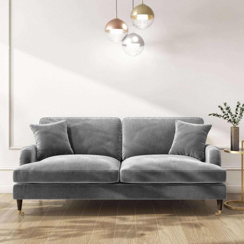 Payton Silver Grey Velvet 3 Seater Sofa