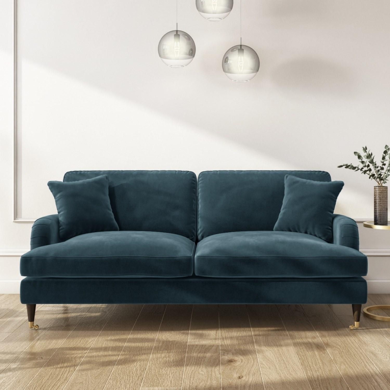 Payton Petrol Blue Velvet 3 Seater Sofa