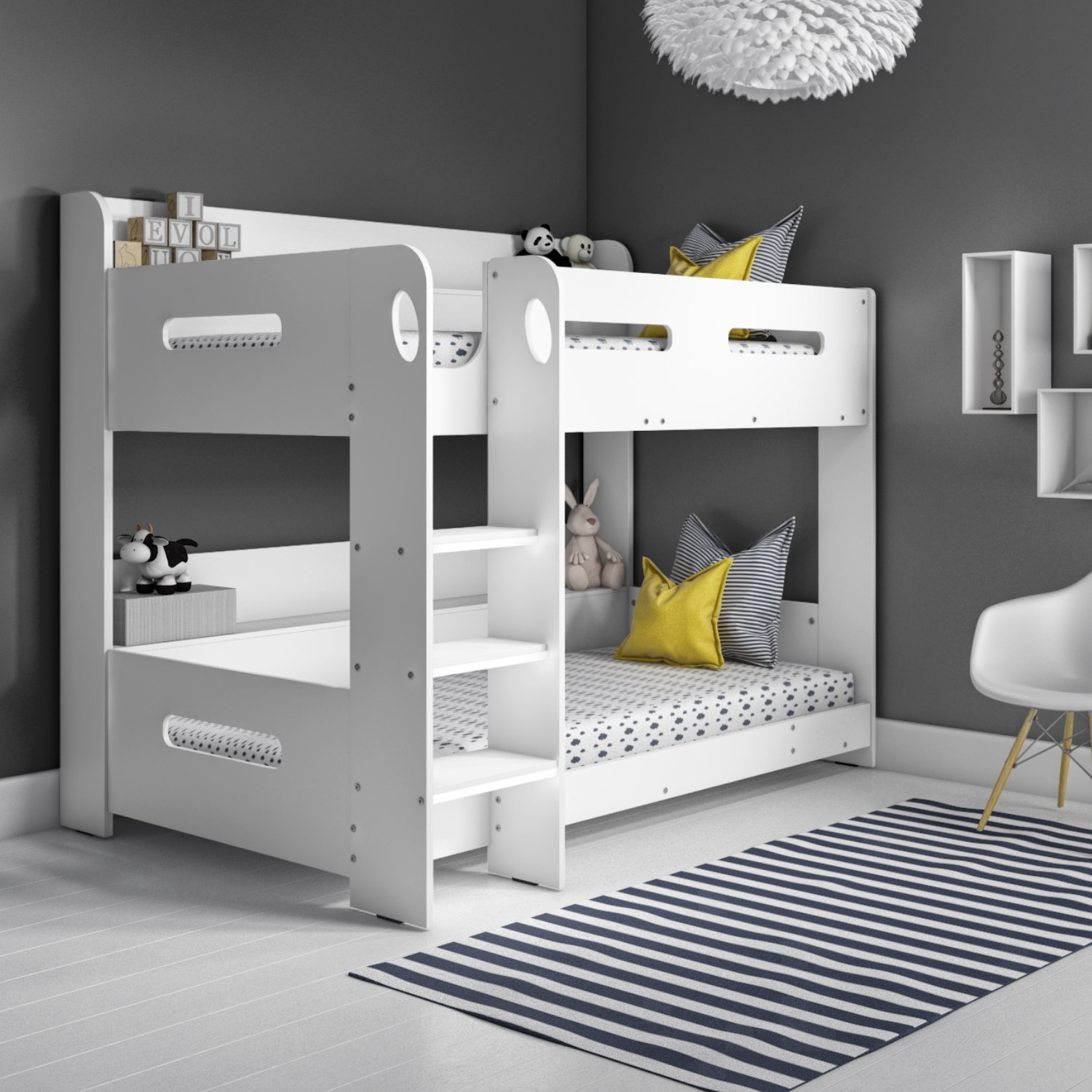 Sky White Bunk Bed - Ladder Can Be Fitted Either Side!