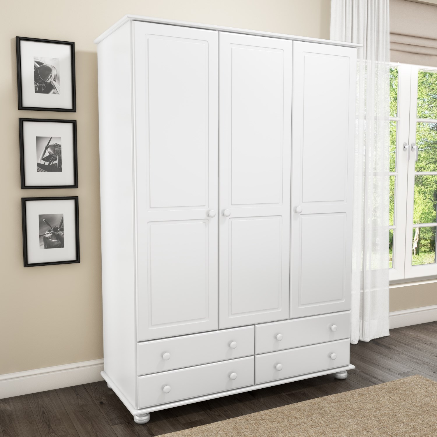 Hamilton 3 Door 4 Drawer Wardrobe in White