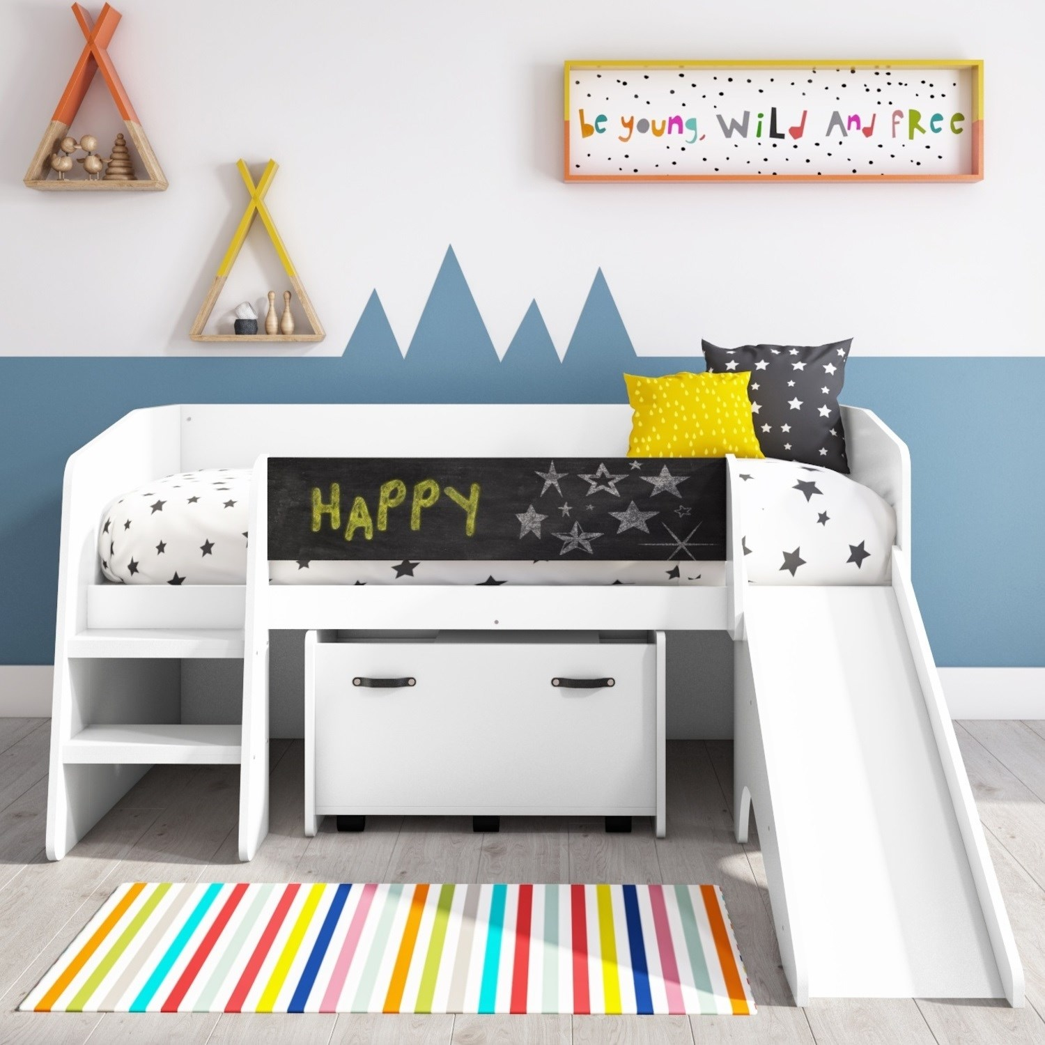Loki White Cabin Bed with Slide and Toy Storage Box