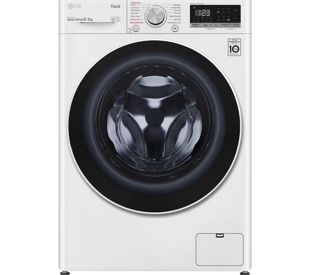 LG AI DD V6 FWV685WSE WiFi-enabled 8 kg Washer Dryer - White, White