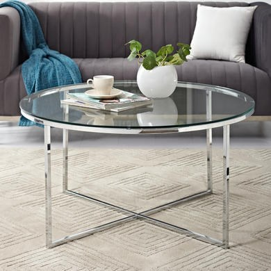 Foster Chrome Coffee Table with Glass Top