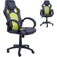 HOMCOM Racing Chair Gaming Sports Swivel Desk Chair Executive Leather Office Chair PC chairs Height Adjustable Armchair-Black/Green