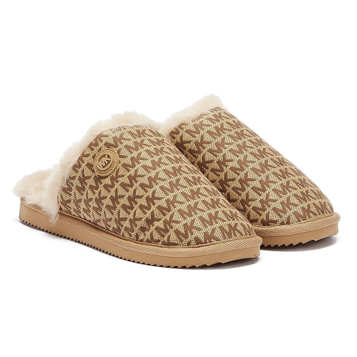 Michael Kors Janis Jacquard Logo Womens Beige Slippers UK 4.5