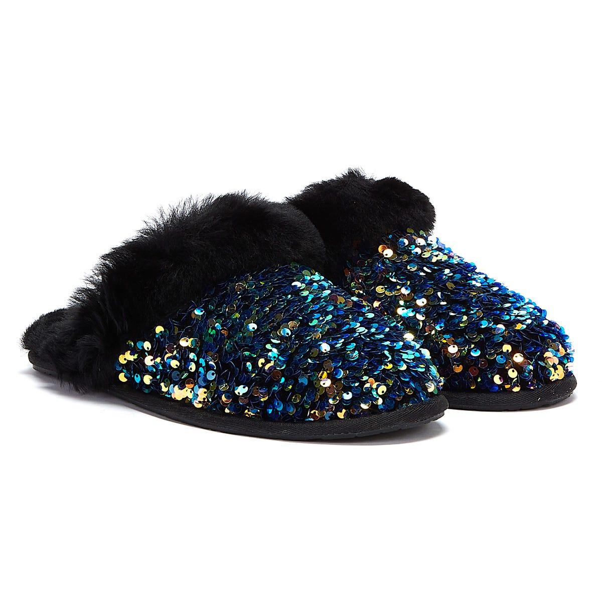 UGG Scuffette II Stellar Sequin Womens Black Slippers UK 3