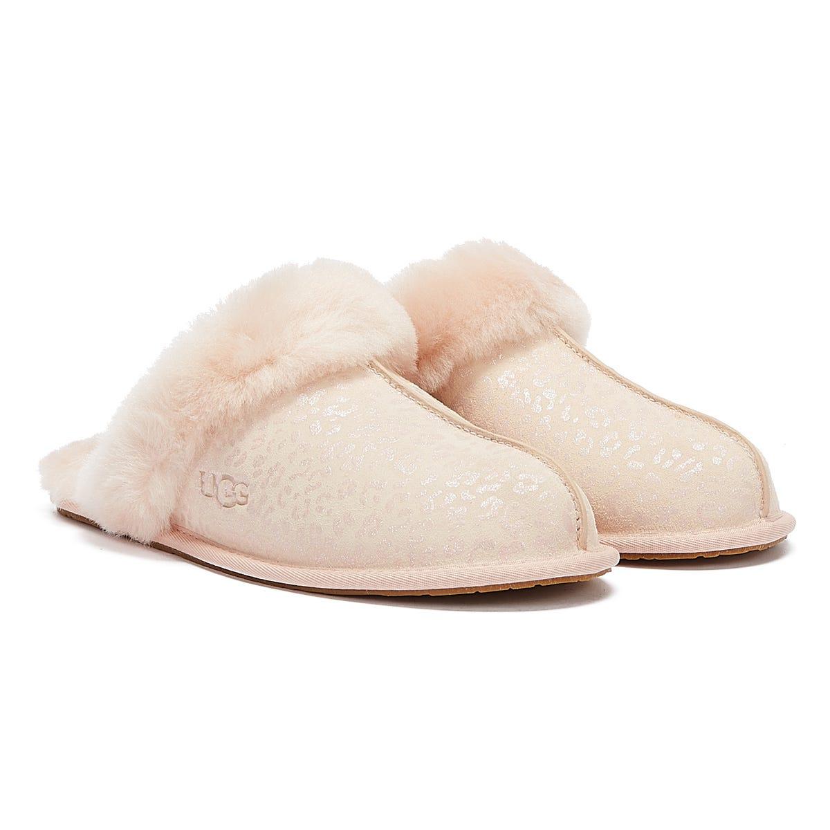 UGG Scuffette II Snow Leopard Womens Light Pink Slippers UK 3