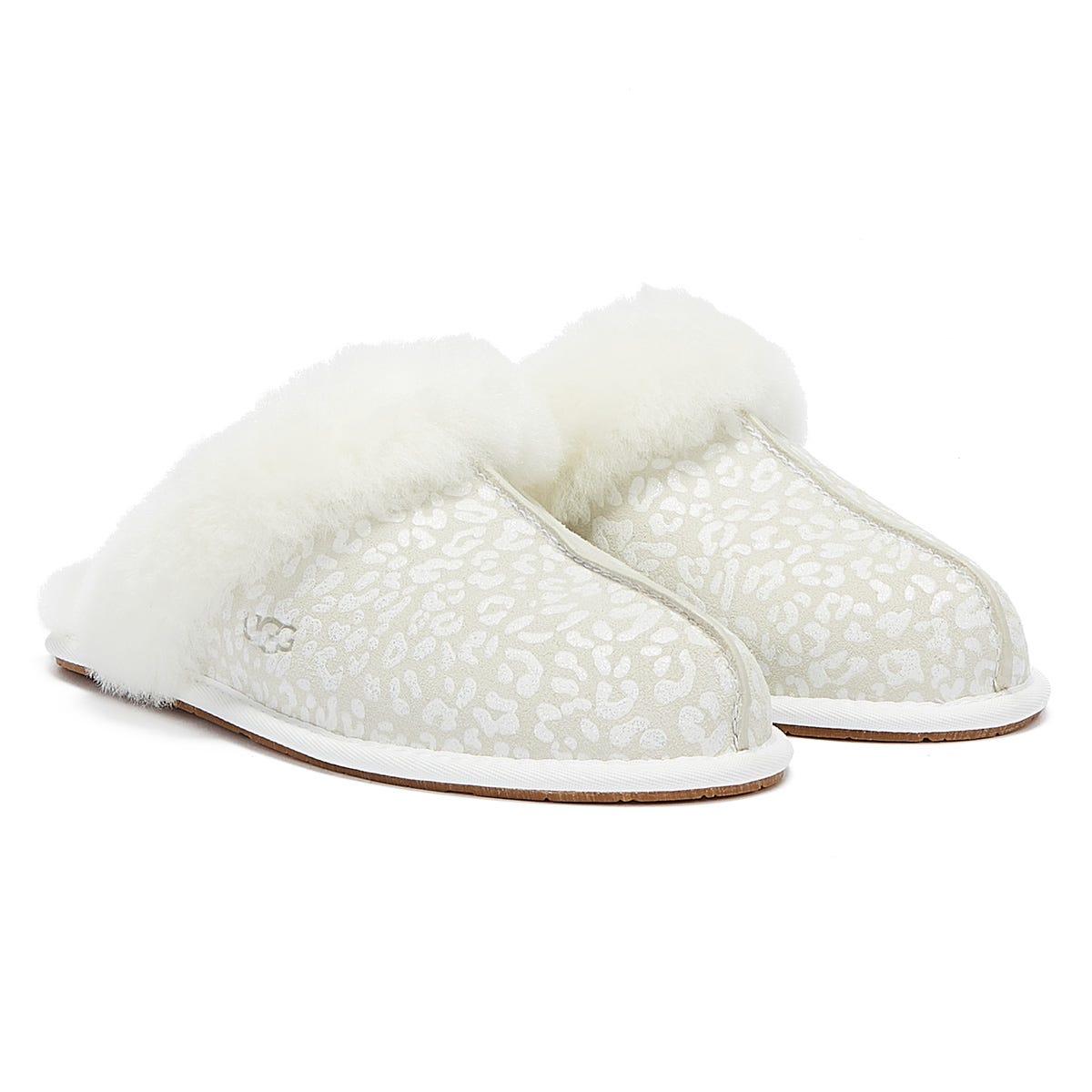 UGG Scuffette II Snow Leopard Womens White Slippers UK 3