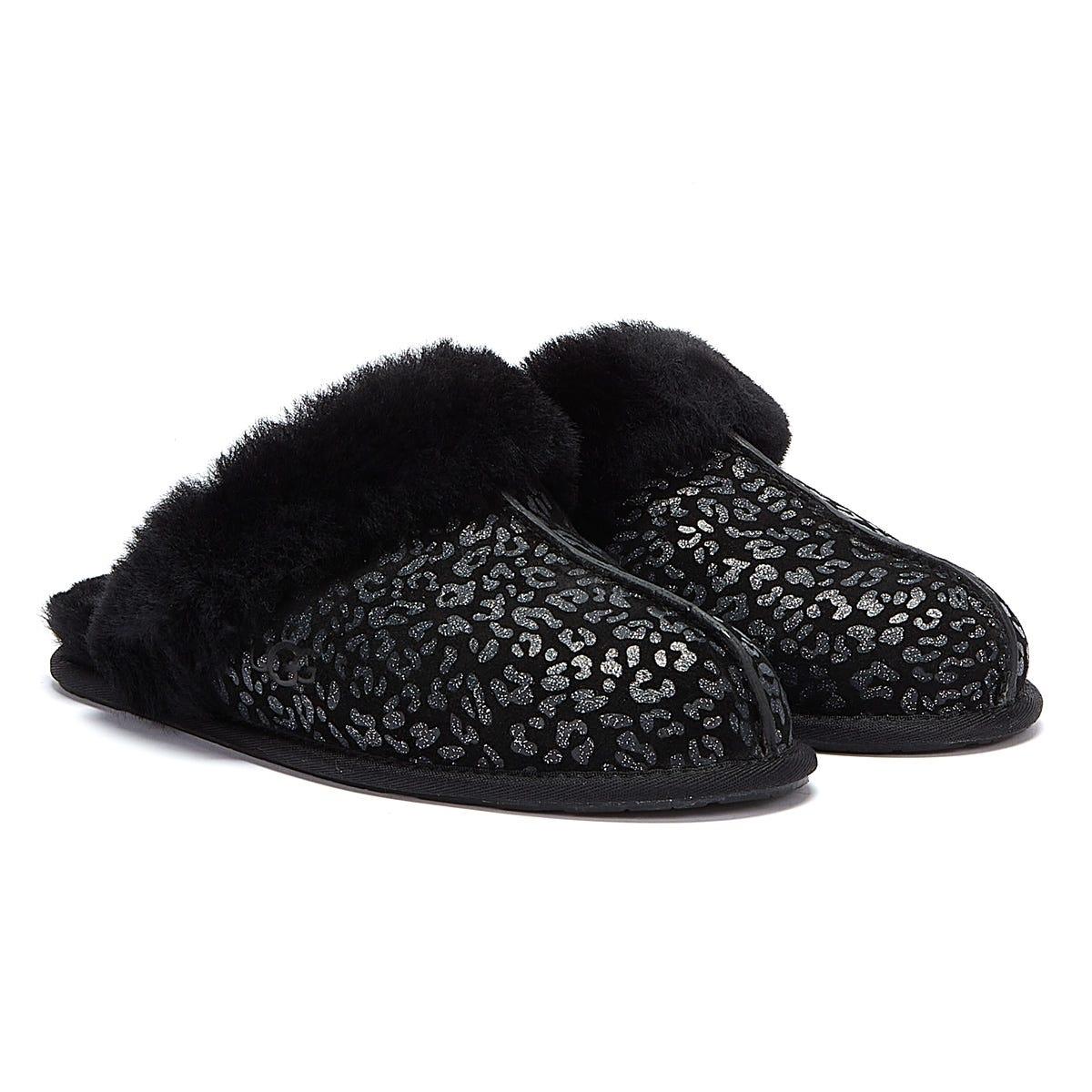 UGG Women's Scuffette Ii Snow Leopard Slippers - Black - UK 3