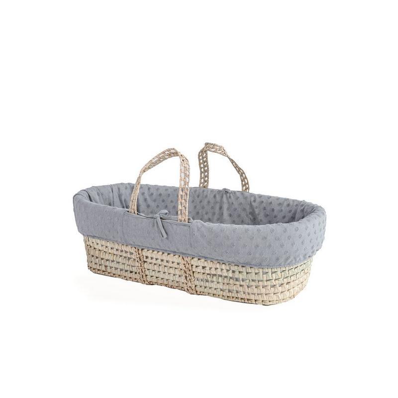 Clair De Lune Terry Dot Palm Moses Basket | Grey
