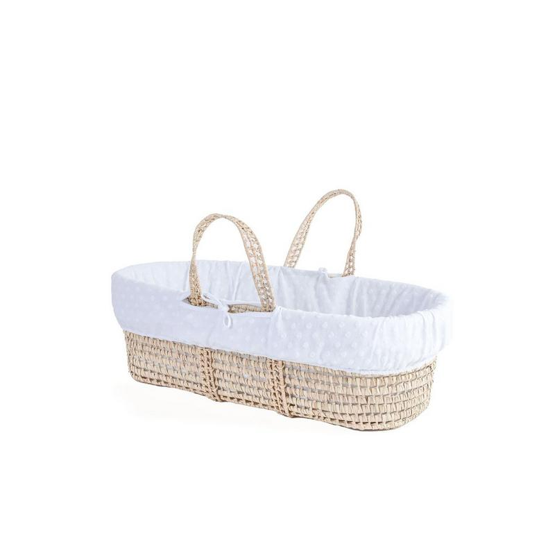 Clair De Lune Terry Dot Palm Moses Basket | White