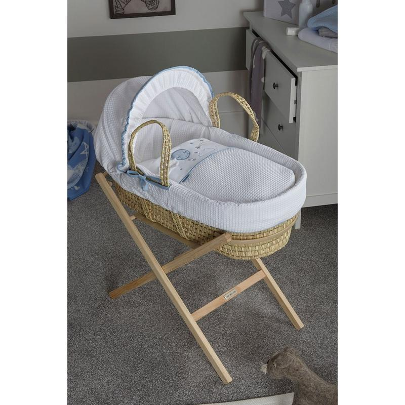 Clair De Lune Over The Moon Palm Moses Basket | Grey