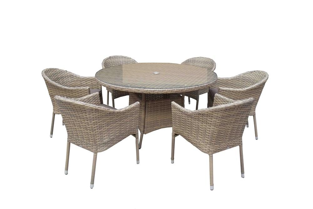 Signature Weave Garden Furniture Darcey 6 Seater Round Dining Set