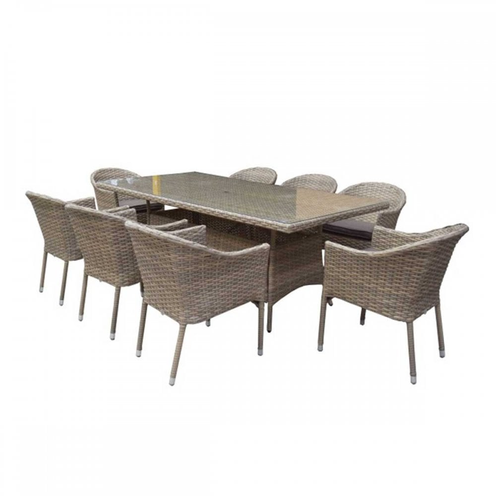 Signature Weave Garden Furniture Darcey 8 Seater Rectangular Dining Set