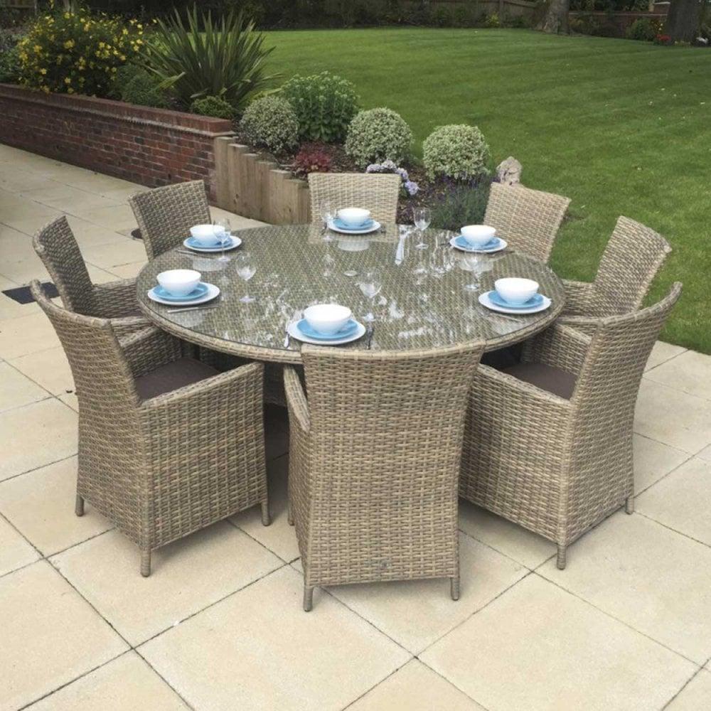 Signature Weave Garden Furniture Darcey 8 Seater Round Dining Set
