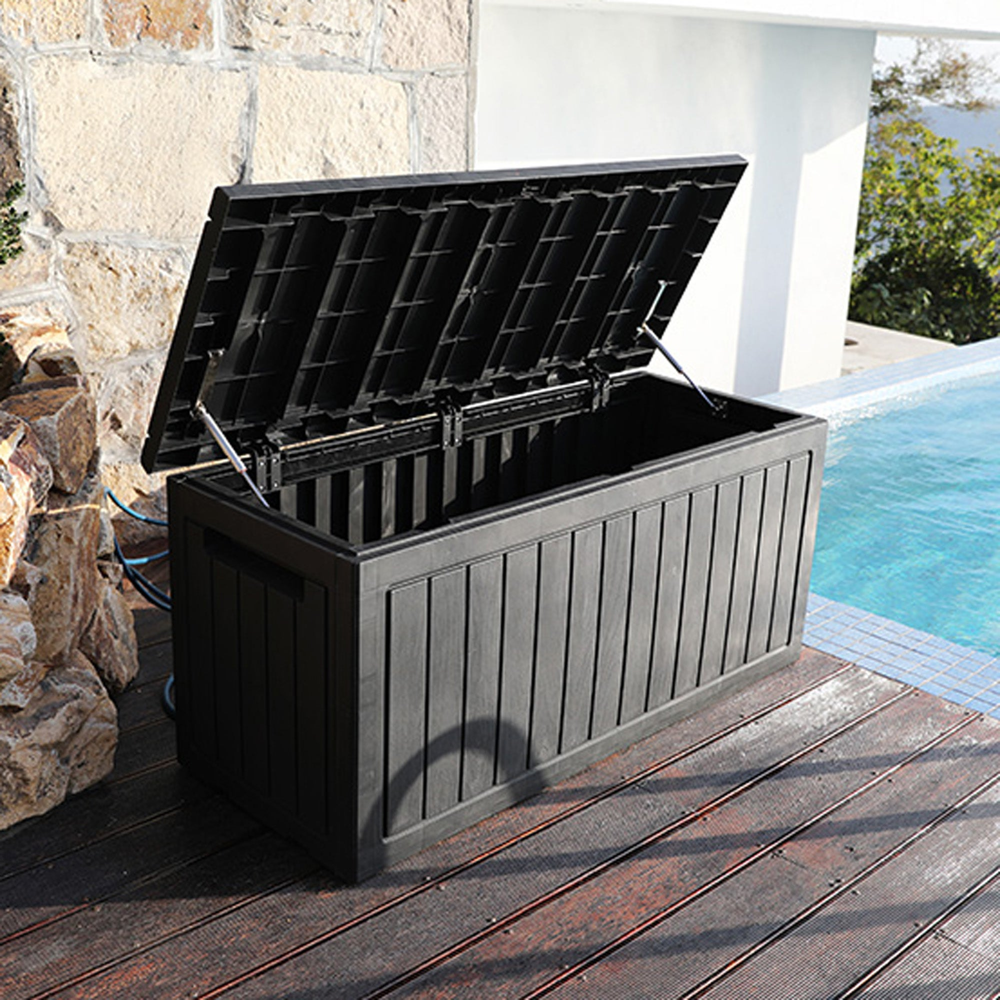 Royal Craft Black Deluxe Waterproof Outdoor Storage Box with Double Gas Lift Black Medium
