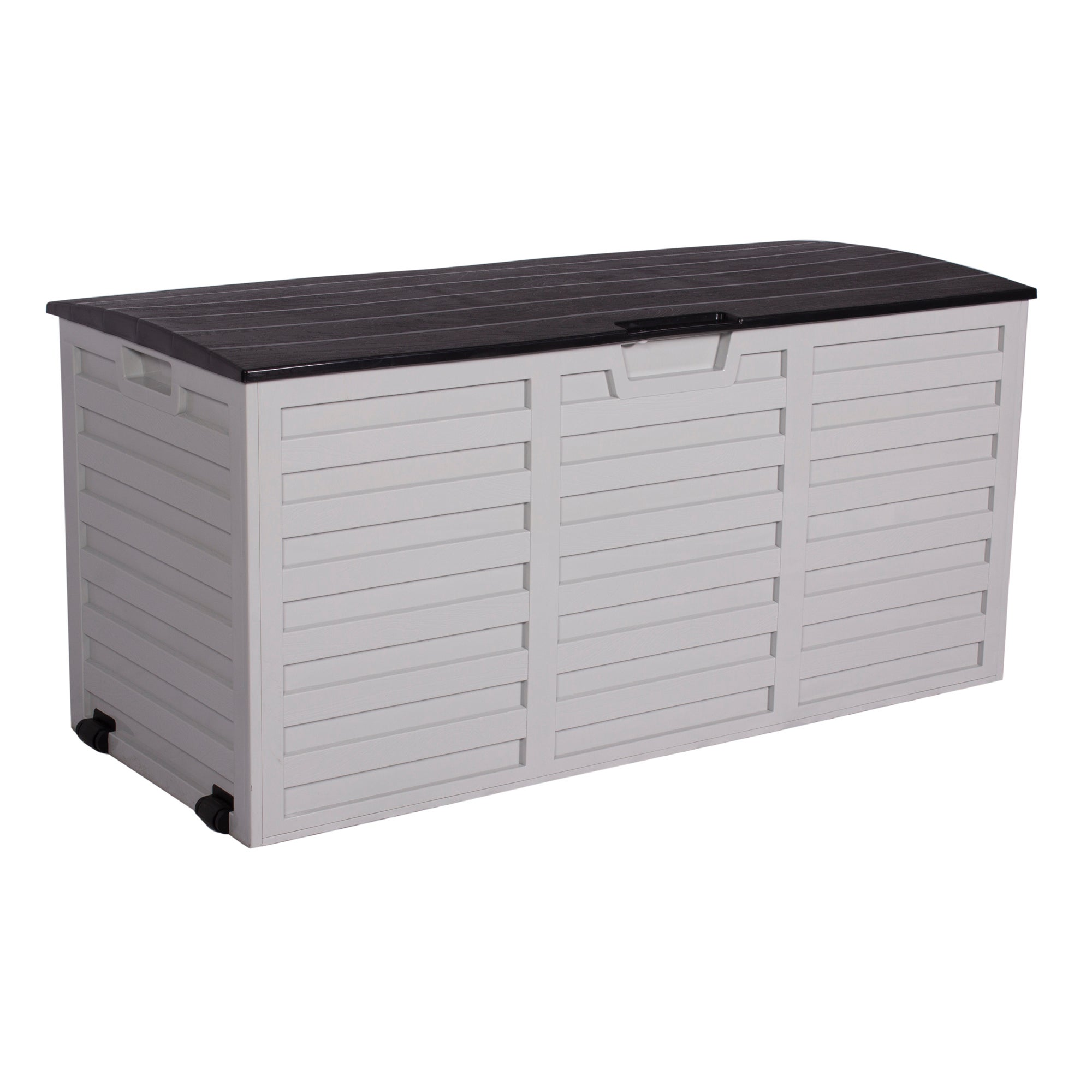 Dunelm White and Black Waterproof Outdoor Storage Box with Wheels White